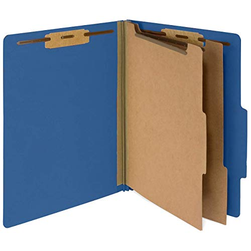 - 10 Dark Blue Classification Folders- 2 Divider-2'' Tyvek expansions- Durable 2 Prongs Designed to Organize Standard Medical Files, Law Client Files- Letter Size, Dark Blue, 10 Pack (-326) (Renewed)
