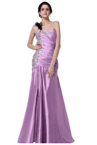 con perline abito raso tracolla lungo sera Viola da Sunvary stile One sirena gaqvRwxzZB