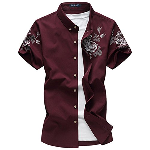 Rising ON Shirts Summer Male Casual Short Sleeve Shirt Fashion Chinese Style Stand Collar Flower Shirts (Large Renaissance Album)