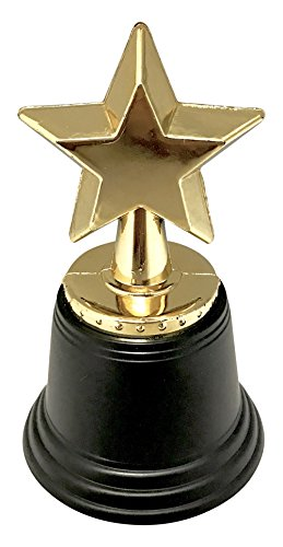 24 Party Favor or Awards Plastic Star Trophies Gold Color 4.5