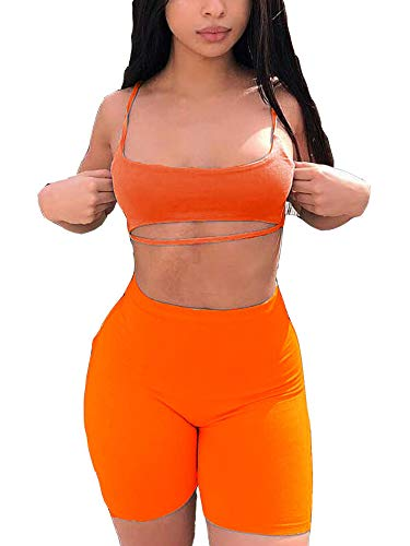 NEONBABIPINK Women's Suit Two Piece Set Sexy Crop Top and Shorts Matching Sets Tracksuit Summer Outfits Orange