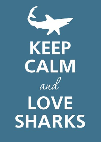 Rectangle Refrigerator Magnet - Keep Calm and Love Sharks White Silhouette