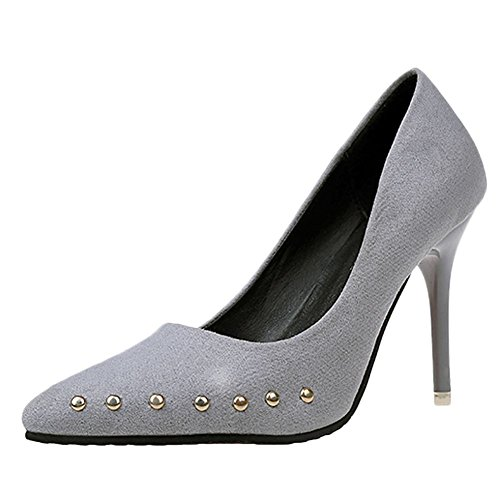 Carolbar Women's Elegant Fashion Rivets High Heel Stiletto Court Shoes Grey WCMiVbZG9
