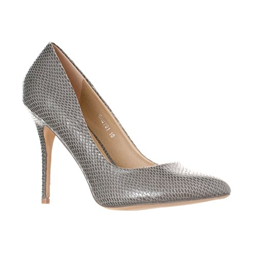 Grey Heels Shoe - Riverberry Women's Gaby Pointed, Closed Toe Stiletto Pump Heels, Grey Snake, 6