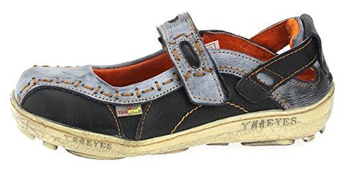TMA Leder Damen Ballerinas Sommer Schuhe Sandale 1601 Schwarz