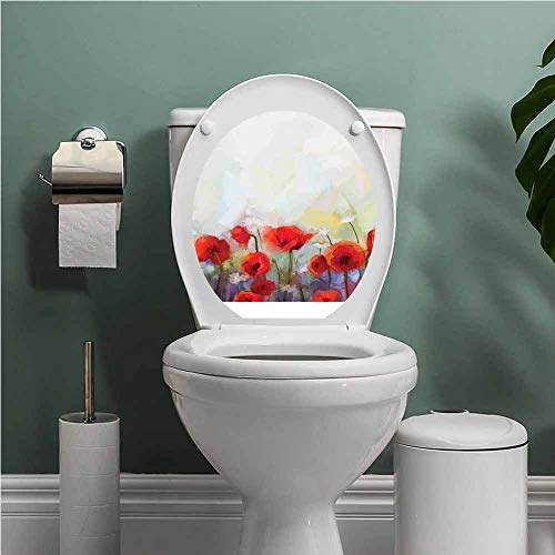 Watercolor Flower Decal Wall Art Decor Funny Bathroom Sticker Poppies in Spring Meadow with Wildflowers Color Painting Removable Toilet BathroomSticker Scarlet Pale Yellow Purple W15XL17 INCH (Best Time For Wildflowers In Wa)