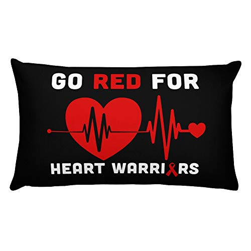 Hand Wooden Customizable Decorative Throw Pillow Covers Go Red February American Heart Health Awareness Month Cases for Sofa Bedroom Car Pillows Rectangular 20 x 12 inch, 50 x 30 cm