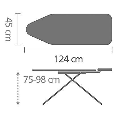 Brabantia 101229 Bügeltisch Dampfstationsablage, Perfect Flow-System, 124 x 45 cm, Bezug Bubbles 6