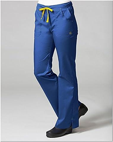 Blossom By Maevn Women's Multi Pocket Flare Leg Scrub Pant Large Petite Royal Blue/Yellow