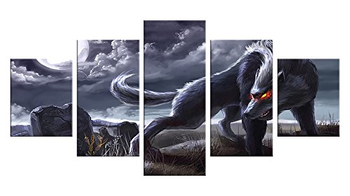 Werewolf Canvas Wall Decor - 5 Pieces Appreciation Wall Art - Oil Painting - Unframed - Room Party Decorations, Halloween Poster Gift #07