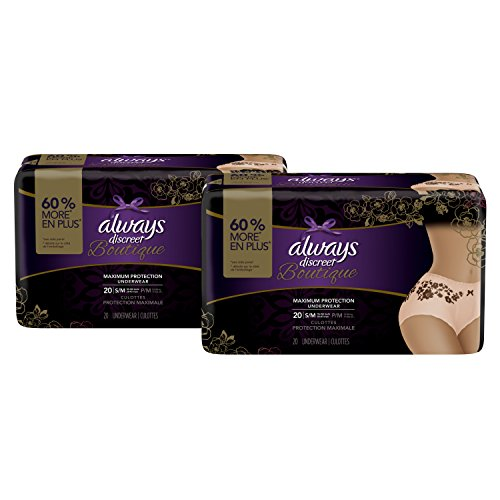 Always Discreet Boutique Incontinence Maximum Protection Underwear for Women, Small/Medium, 40 (Maximum Incontinence Protection)