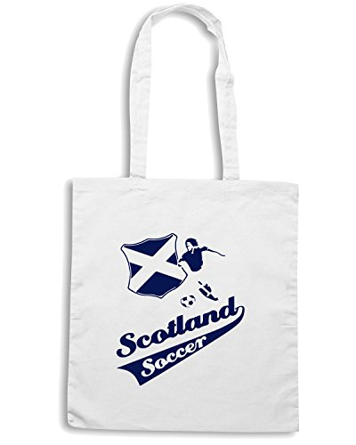 T-Shirtshock - Bolsa para la compra WC1068 scottish soccer kids light tshirt Blanco
