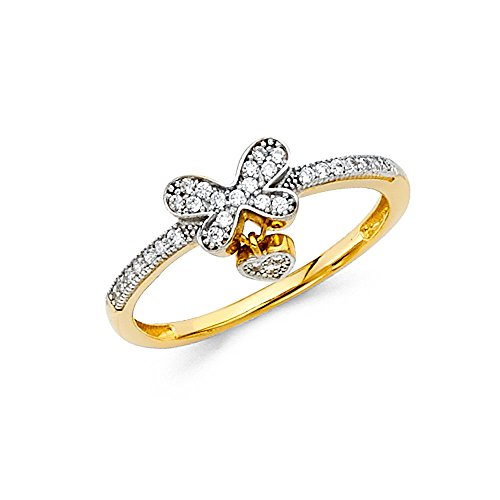 Wellingsale Ladies Solid 14k Yellow Gold Polished CZ Cubic Zirconia Micro Pave Butterfly Heart Design Right Hand Fashion Ring - Size 5
