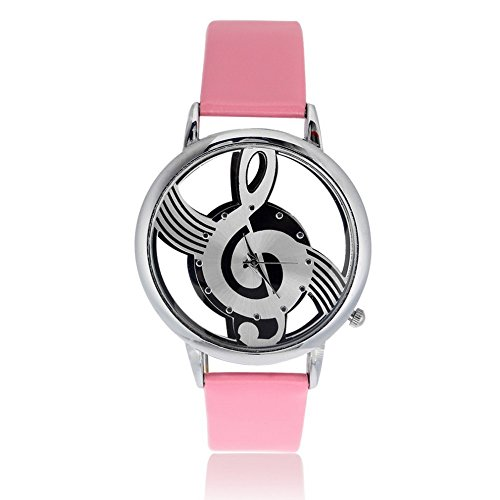 Music Notation Womens Men Quartz Watches PU Leather Analog Wristwatch