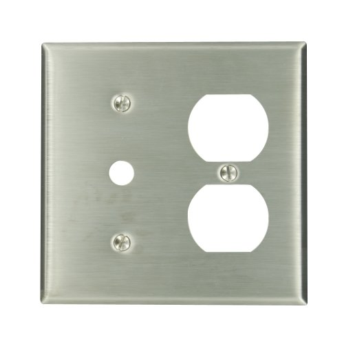 Leviton 84078-40 2-Gang 1-Duplex 1-Telephone/Cable .406 Device Combination Wallplate, Strap Mount, Stainless Steel