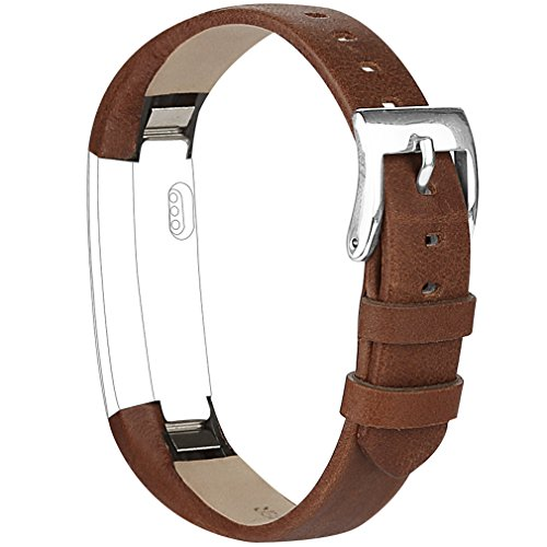 Vancle Band Compatible with Fitbit Alta/Fitbit Alta HR 2017 Leather Wristband Adjustable Replacement Accessories Strap with Buckle for Fitbit Alta and Fitbit Alta HR (Coffee)