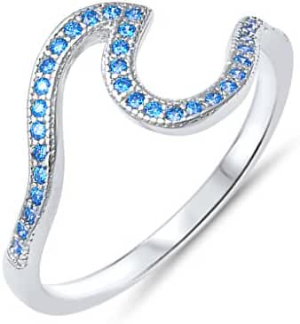 Nautical .925 Sterling Silver Ocean Waves Ring with Simulated Aquamarine Cubic Zirconia Sizes 4-10