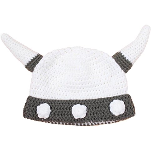 BIBITIME Handmade Knit Horn Hat Viking Beanie Cosplay Cap 3 Size Adult Kid Baby (White Grey - Babies, Reference)