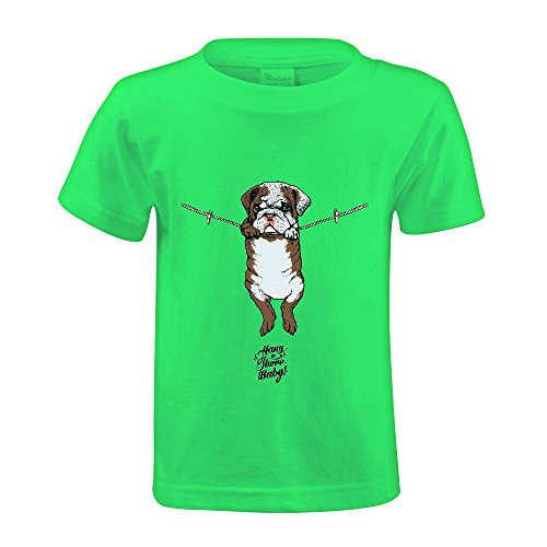 Chas Hang in There Baby English Bulldog Girls Crew Neck Personalized T Shirts (Adult Cheer Bear Dress)