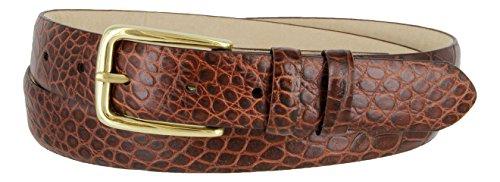 [Andrea Genuine Italian Calfskin Leather Dress Belt for Women(Alligator Brown, 40)] (Brown Calfskin Belt)