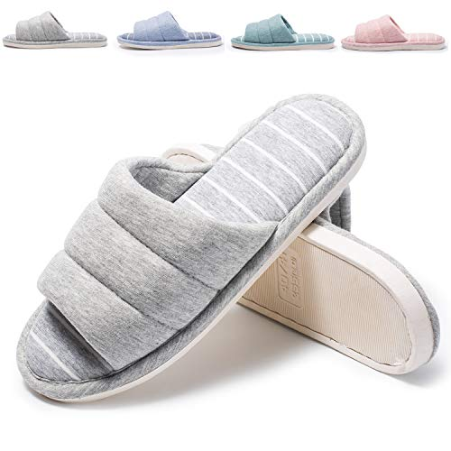 Bofshow Womens Soft Indoor Slippers Open Toe Cotton Memory Foam Slip on Home Shoes