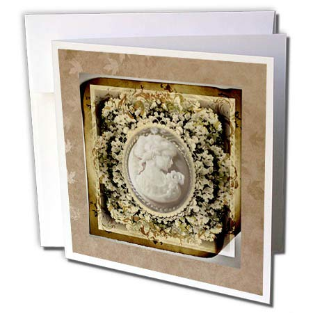 3dRose Beverly Turner Cameo Design - Image of Vintage Cameo in Sepia Flowered Frame - 6 Greeting Cards with envelopes ()
