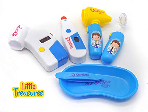 Doctor Set - an Educational Role Play Toy Set, for Kids 3 and Plus, Features Sturdy Medical Tools Like an Thermometer, Otoscope, Magnifier, Emesis Basin and Forceps