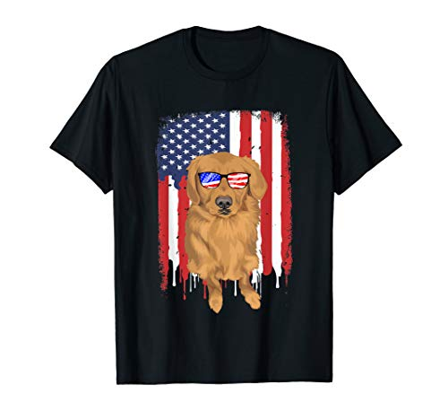 Golden Retriever T-Shirt USA American Flag 4th July glasses
