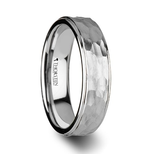 WINSTON White Tungsten Ring with Raised Hammered Finish and Polished Step Edges - 6mm