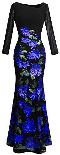 Angel-fashions Women's Long Sleeve Rose Pattern Sequin Black Formal Dress (L, Blue Black)