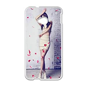HTC One M7 Cell Phone Case White Graceful Sexy Women Flying Rose Petals TR2462283