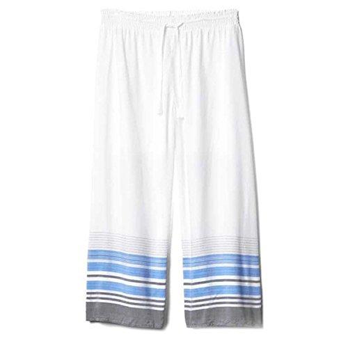 Damas Blanco Flojo De Gran Tamaño Siete Pantalones Pijamas Desgaste Del Salón White