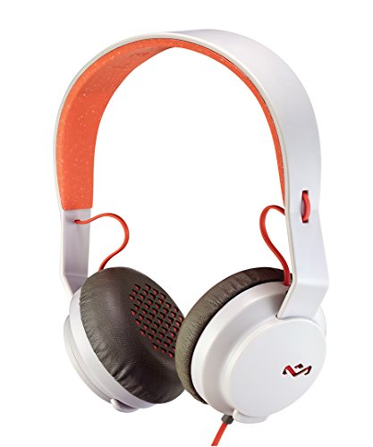 House of Marley, Rebel On-Ear Wired Headphones - In-line Microphone with 1-button Remote, Single Sided Cable, Powerful 40mm Driver, Competitive Acoustic Performance, EM-FH041-PK Peach