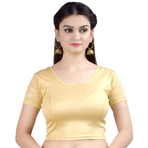 Chandrakala Women's Stretchable Readymade Lycra Gold Indian Ethnic Saree Blouse Crop Top Choli-Small (B102GOL)