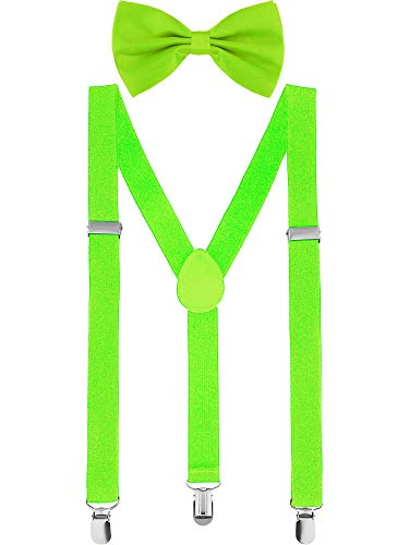 Satinior Suspender Bow Tie Set Clip On Y Shape Adjustable Braces, Pant Suspenders Shoulder Straps for Cosplay Party (Fluorescent Green)]()
