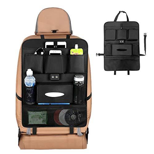 NEXGADGET Organizador de Asiento Trasero de Coche con Multi-bolsillo y 4 Puerto de USB, Asiento Trasero Cubiertas para Coches...