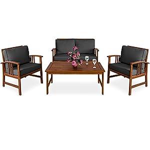 Deuba | Salon de Jardin Atlas • en Bois d'Acacia • Coussins Anthracite | Ensemble Table et Chaise de Jardin, mobilier…