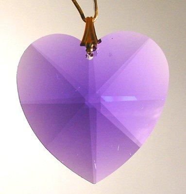 Swarovski 28mm Violet Large Crystal Faceted Heart Prism