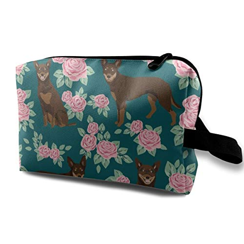 (Australian Kelpie Dog Fabric Red And Tan Kelpie Design - Roses - Green_2559 Toiletry Bag Cosmetic Bag Portable Makeup Pouch Travel Hanging Organizer Bag For Women girl 10x5x6.2 inch )