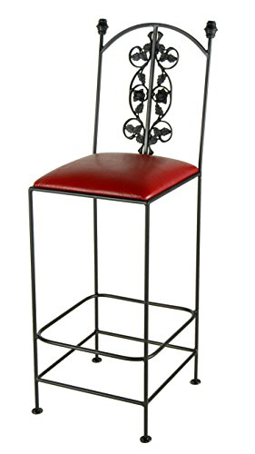 Grace Collection Iron Bar Stools (Grace Collection GMC-3030-3A-BC-Crispin Plaid Rose Bar Stool in Burnished Copper finish, Crispin Plaid)