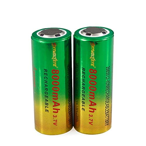 2 Packs 26650 Li-ion Rechargeable Battery 3.7V RCR123A 8000mAh Flat Top Batteries for Led Flashlight Torch