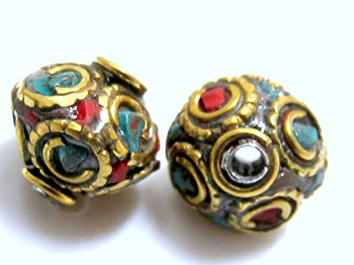 (1 BEAD-Bicone disc shape brass beads from Nepal with turquoise coral inlay - BD150)