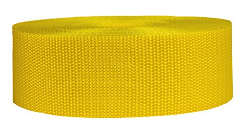 Strapworks Heavyweight Polypropylene Webbing - Heavy Duty Poly Strapping for Outdoor DIY Gear Repair, 2 Inch x 10 Yards - - Yellow Strap Collar
