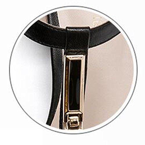 Sandali Xiaolin dimensioni Cn35 Estivi Donne Formato Centimetri Opzionale Quadrato In colore Donna 4 Semplice Altezza Mezzo Scarpe Grossolani Tallone 5 Uk3 Tacco Pelle Del Nero Eu36 Tacco 5 Bianco Tacco Da 5rn51wqx