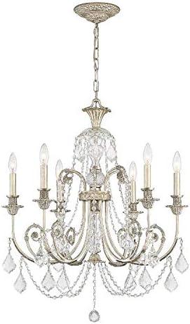 Regis 6 Light Clear Crystal Silver Chandelier