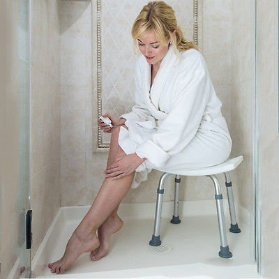 Medical Tool-Free Spa Bathtub Adjustable Shower Chair Seat Bench with Removable Back