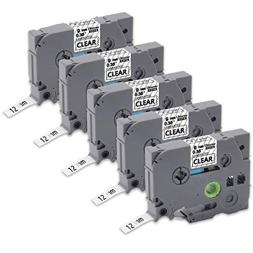 Unismar TZe-121 TZ Label Tape 9mm Black on Clear,P-Touch Laminated Labeling Tapes Compatible for Brother PT-H100 PT-H110 PT-D400 PT-D600 Label Maker, 0.35'' x 26.2', 5-Pack
