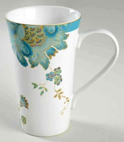 222 Fifth Eliza Teal Paisley Tall Latte Mugs, Set of 2: Amazon.in ...