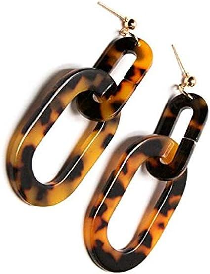 TOOGOO Pendientes cuadrados de leopardo de acrilico grandes para mujeres Pendientes cuadrados de cuticula minimalista de joyeria