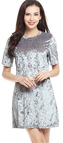 Arctic Cubic Sexy Short Sleeve Velvet Mini Shift Boxy Straight T-Shirt Tunic Dress Shiny Metallic Silver S